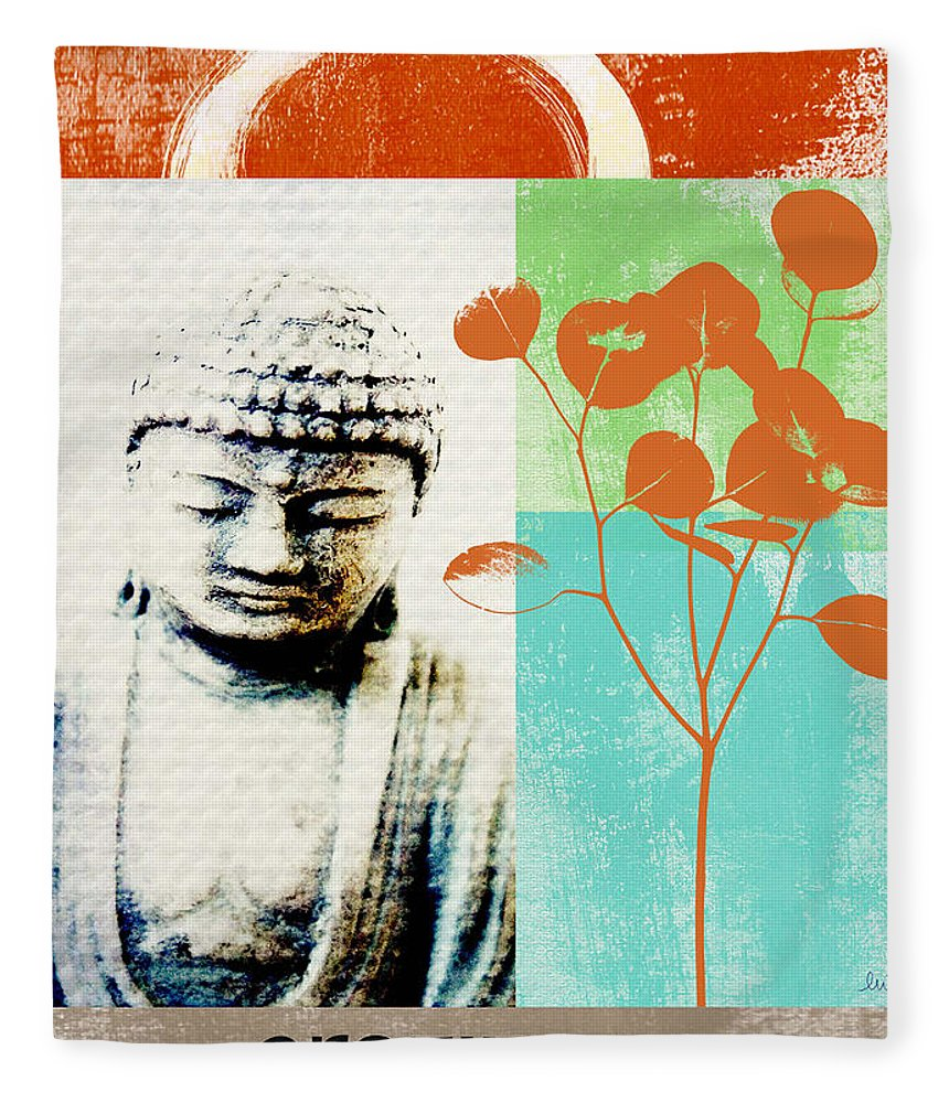 Gratitude Greeting Card Fleece Blanket featuring the painting Gratitude Card- Zen Buddha by Linda Woods