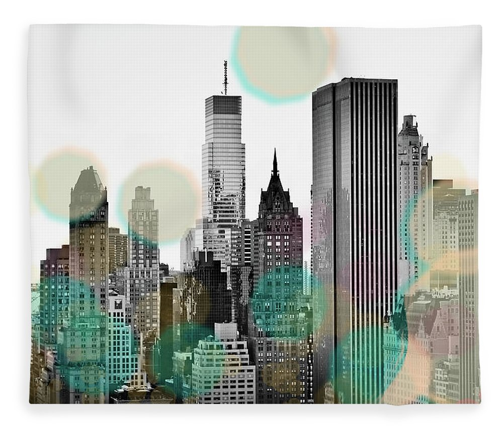 Gray Fleece Blanket featuring the digital art Gray City Beams by Sundance B