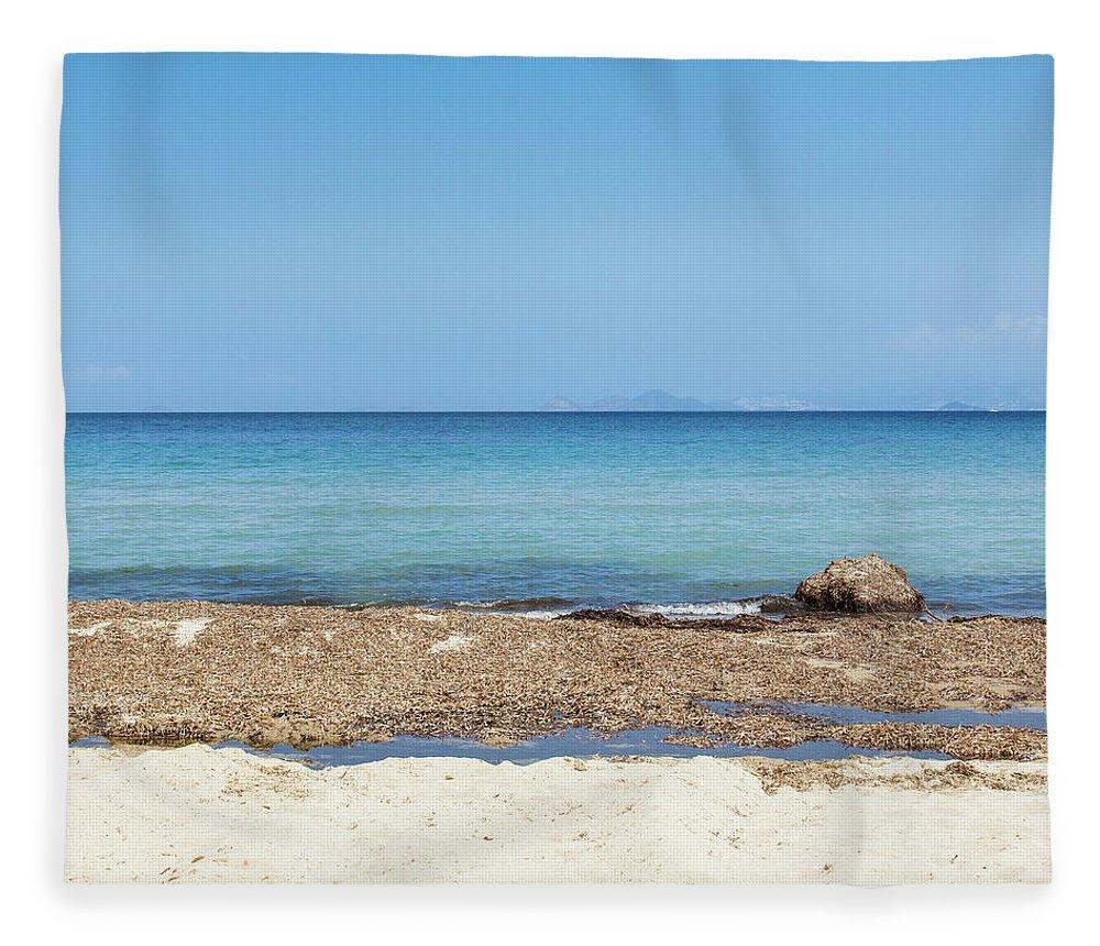 Greek Culture Fleece Blanket featuring the photograph Greek Sea by Deimagine