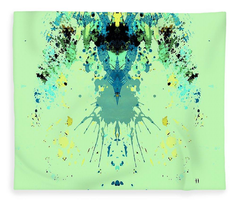 Alien Fleece Blanket featuring the digital art Green Alien by Dan Sproul