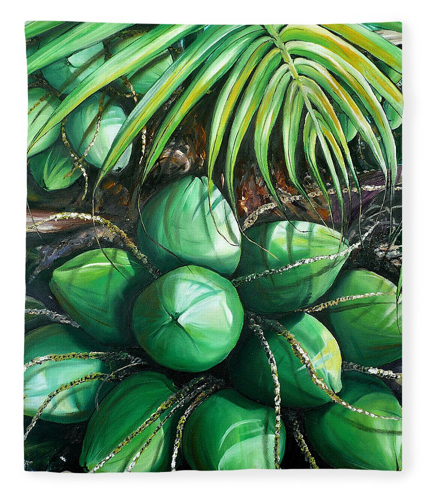 Tropical Painting Caribbean Painting Green Painting Palm Tree Painting Greeting Card Painting Botanical Painting Tree Painting Fleece Blanket featuring the painting Green Coconuts 3 Sold by Karin Dawn Kelshall- Best