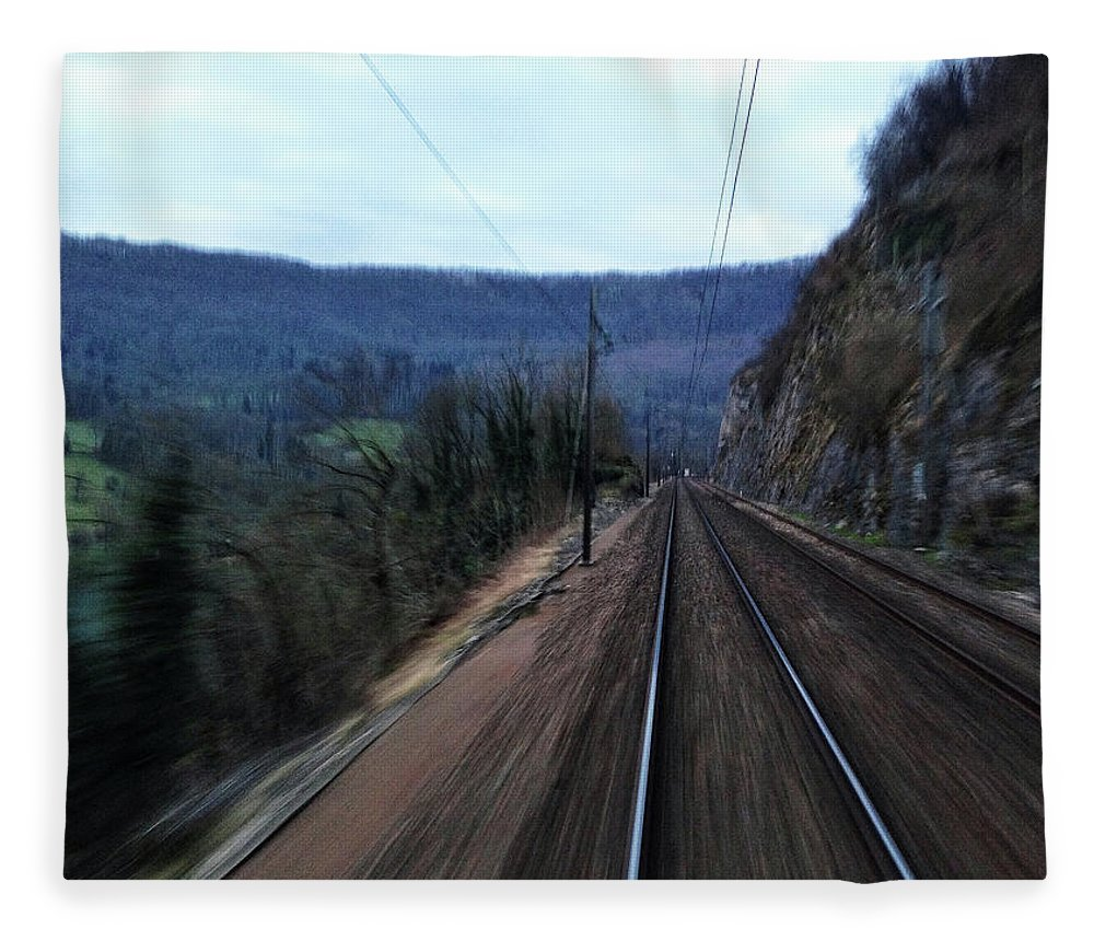 Railroad Track Fleece Blanket featuring the photograph Green Travel by Lazypixel / Brunner Sébastien
