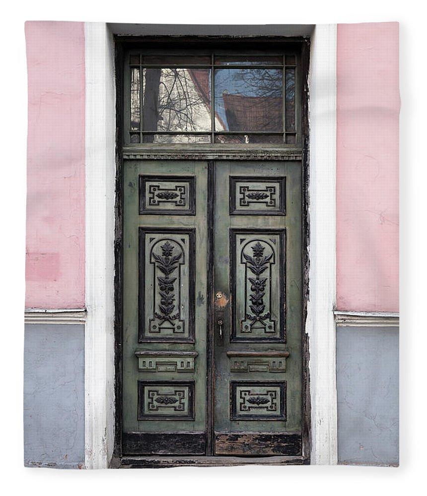 Rectangle Fleece Blanket featuring the photograph Green Wooden Door In Old Building by Eugenesergeev