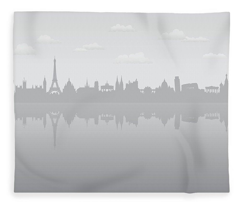 Clock Tower Fleece Blanket featuring the digital art Grey Europe by Leontura