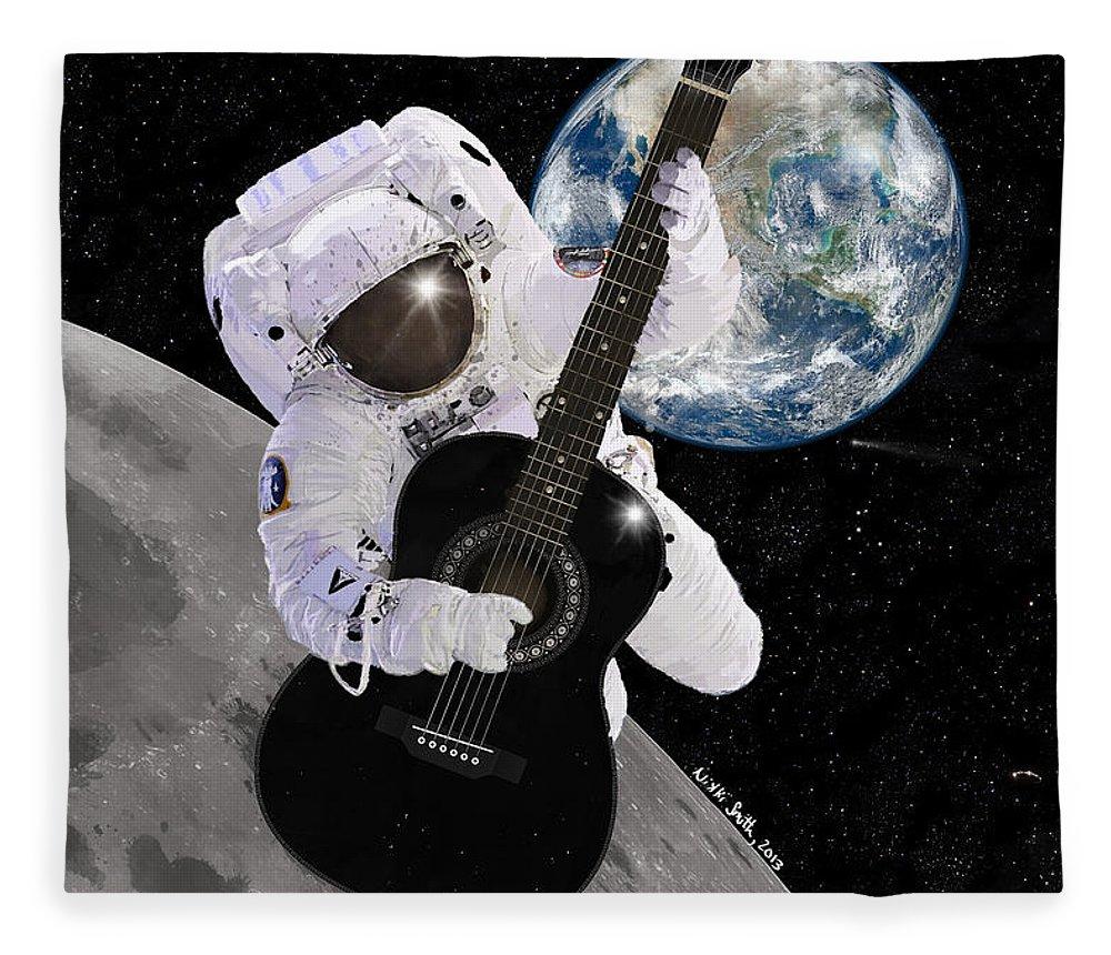 Astronaut Fleece Blanket featuring the digital art Ground Control To Major Tom by Nikki Marie Smith