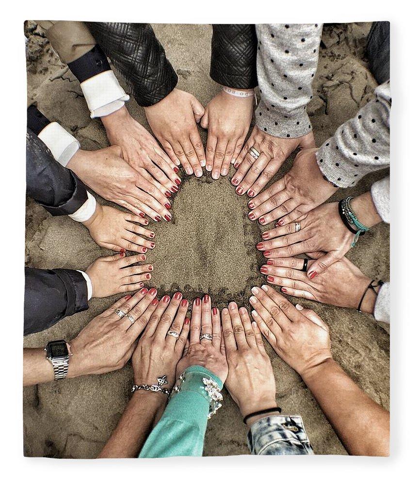 People Fleece Blanket featuring the photograph Group Of Friends Making Heart Shape by Julen Garces Carro / Eyeem