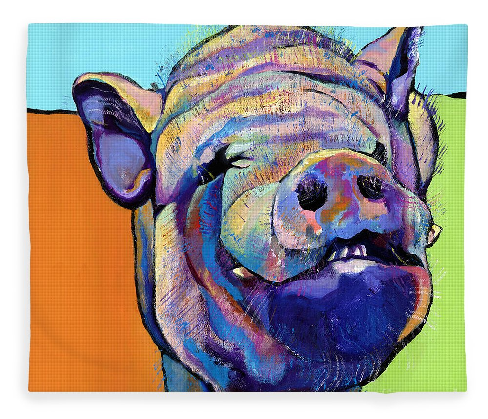 Pat Saunders-white Canvas Prints Fleece Blanket featuring the painting Grunt  by Pat Saunders-White
