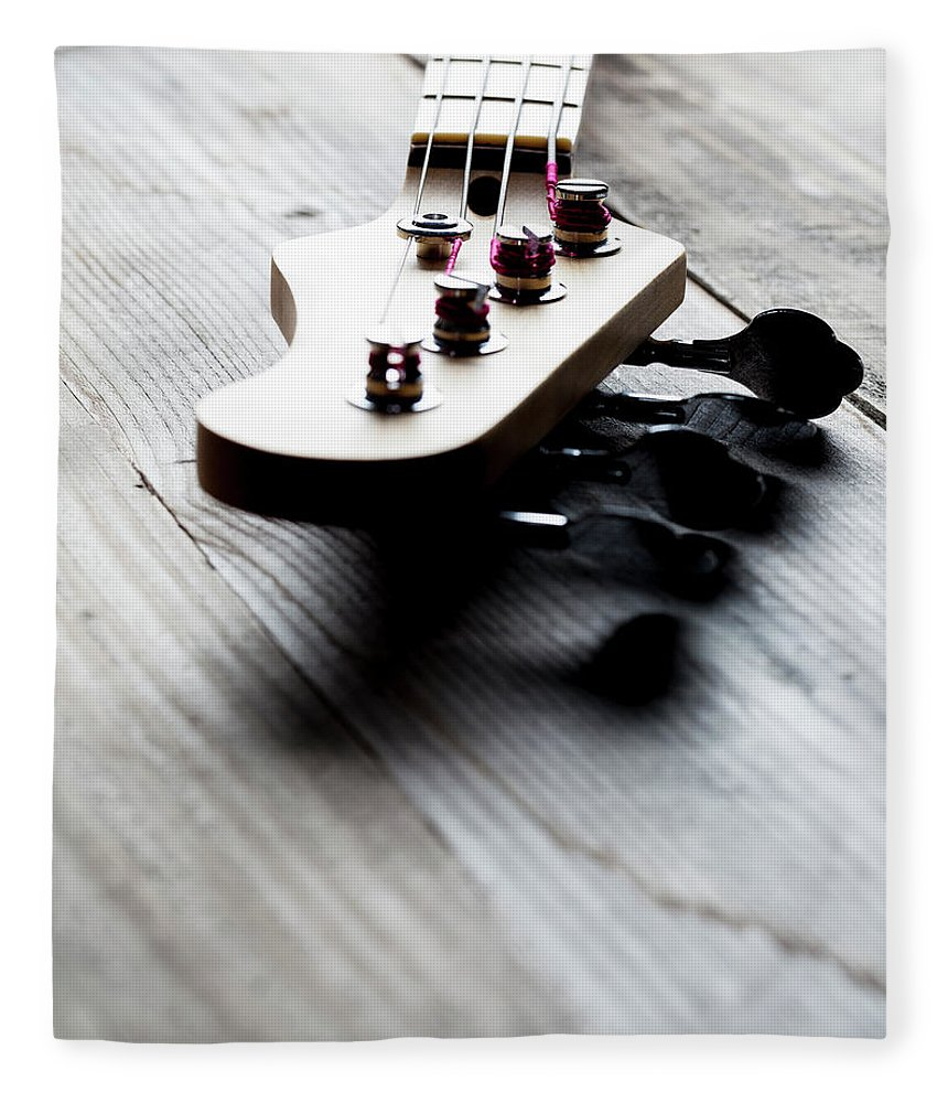 Chord Fleece Blanket featuring the photograph Guitar Headstock by Bill Oxford