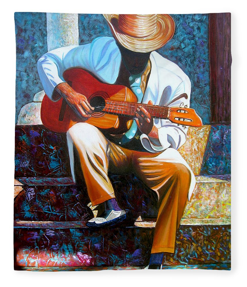 Cuban Art Fleece Blanket featuring the painting Guitar by Jose Manuel Abraham