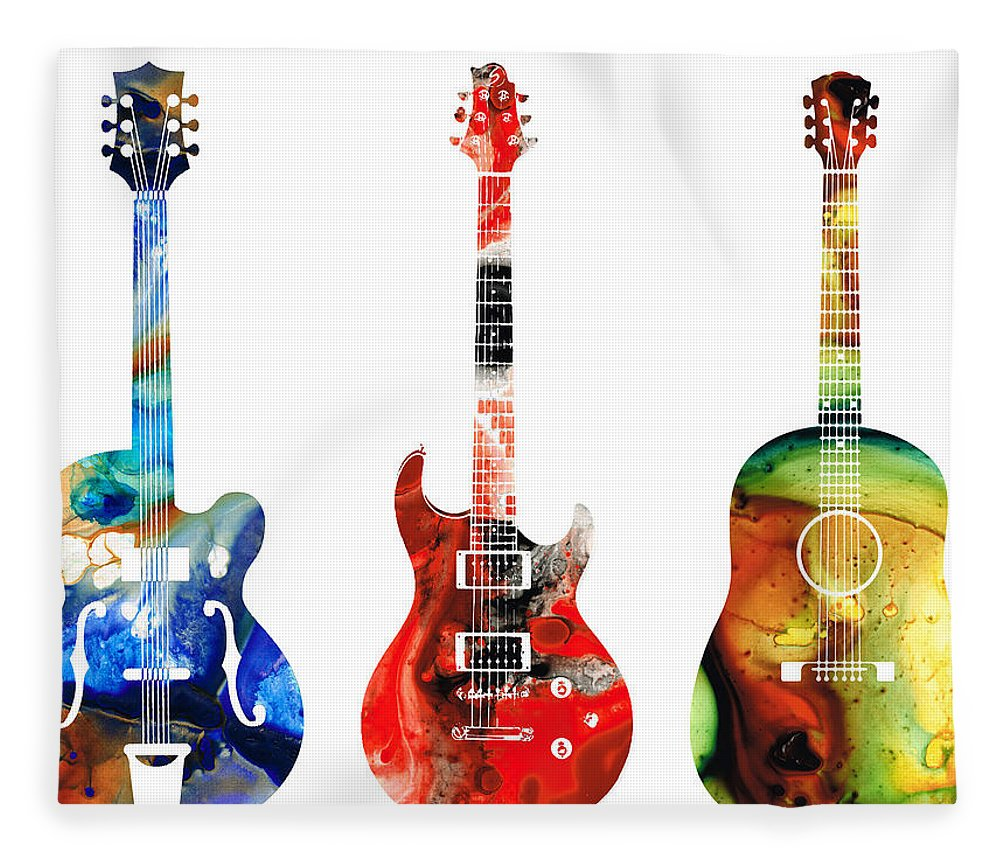 Guitar Fleece Blanket featuring the painting Guitar Threesome - Colorful Guitars By Sharon Cummings by Sharon Cummings
