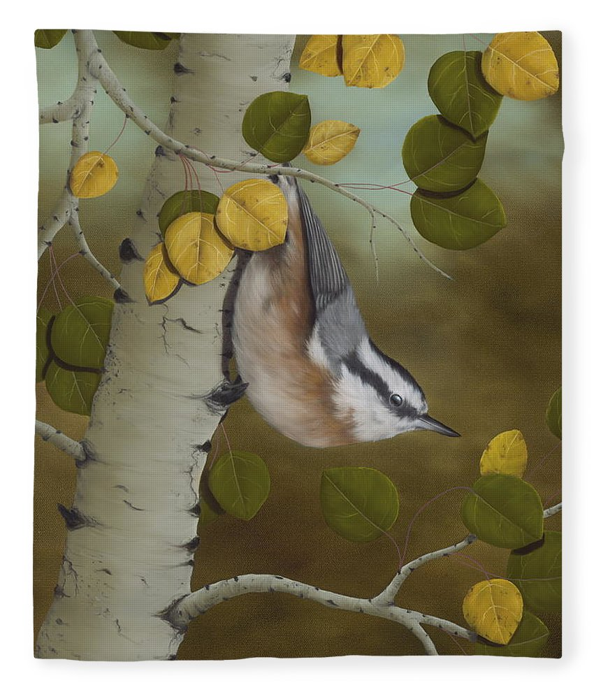 Animals Fleece Blanket featuring the painting Hanging Around-Red Breasted Nuthatch by Rick Bainbridge