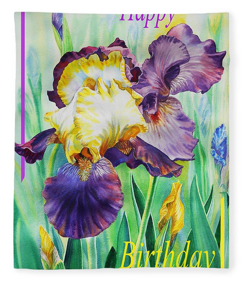 Happy Birthday Iris Flower Fleece Blanket For Sale By Irina Sztukowski