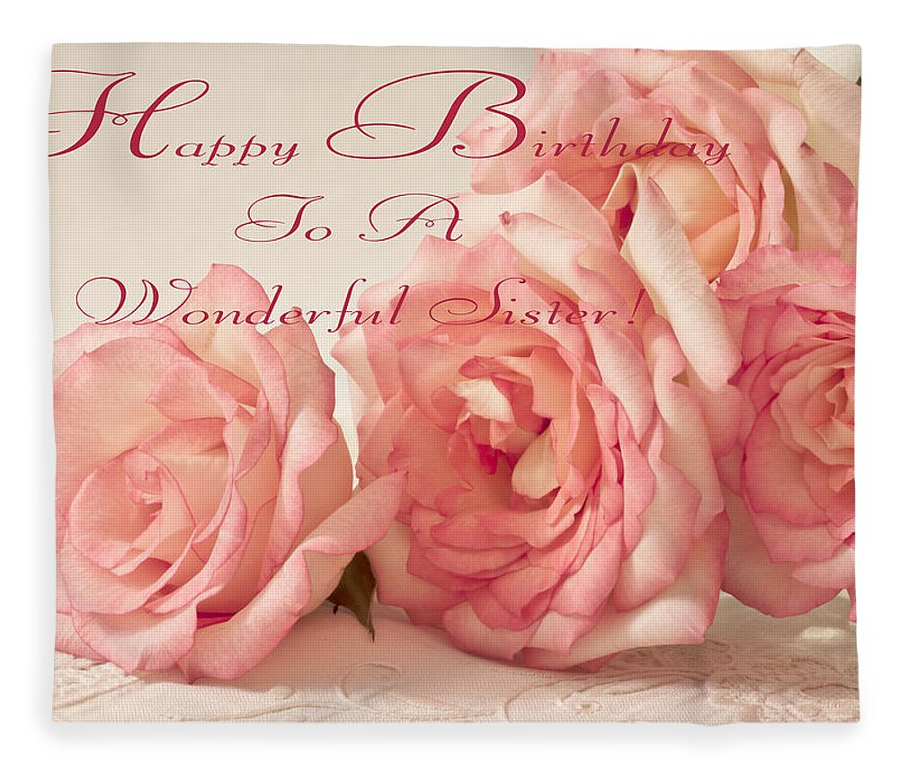 Happy Birthday To A Wonderful Sister Pink Roses Greeting Card
