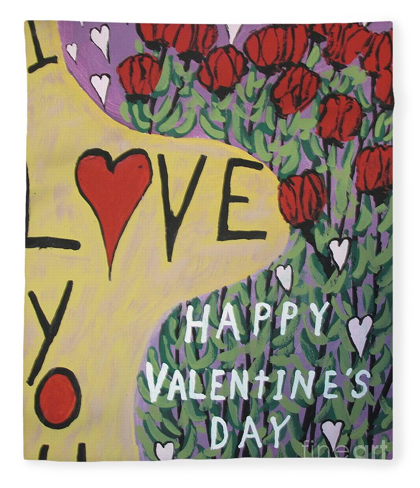 Lovers Fleece Blanket featuring the painting Happy Valentine's Day by Jeffrey Koss