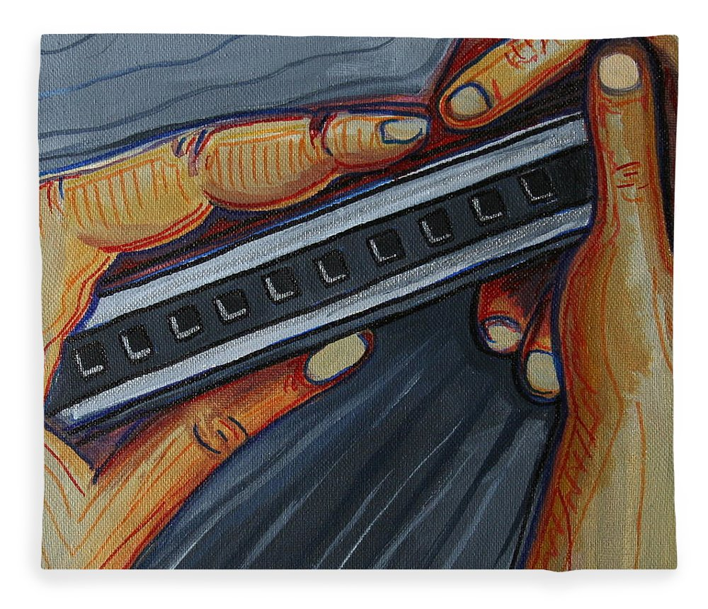 Harmonica Fleece Blanket featuring the painting Harmonica by Kate Fortin