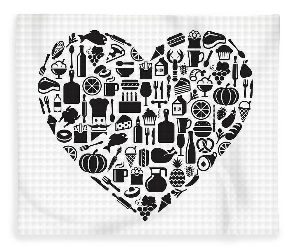 Chicken Meat Fleece Blanket featuring the digital art Heart Food & Drink Royalty Free Vector by Bubaone