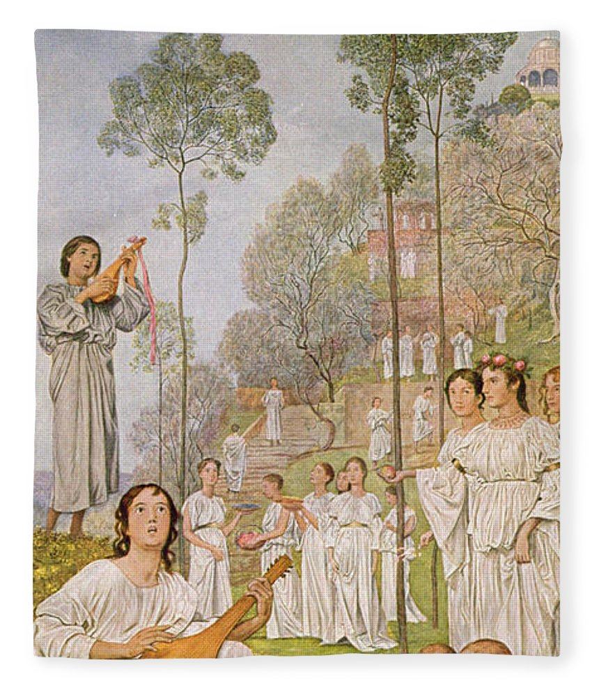 Thoma Fleece Blanket featuring the painting Heaven by Hans Thoma