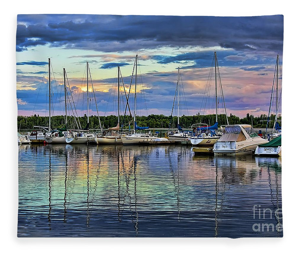 Boats Fleece Blanket featuring the photograph Hecla Island Boats by Teresa Zieba