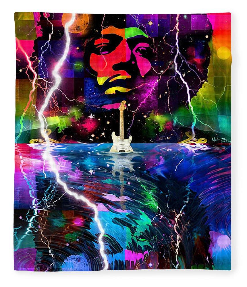 Jimi Hendrix Fleece Blanket featuring the digital art Hendrix Astro Man by Mal Bray