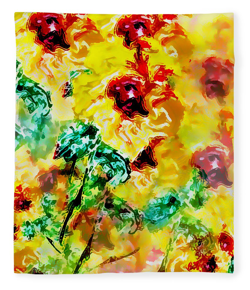 Flowers Fleece Blanket featuring the digital art Hibiscus Impressionist by William Braddock