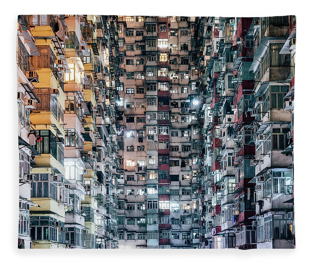 Chinese Culture Fleece Blanket featuring the photograph High Density Living by Visualspace