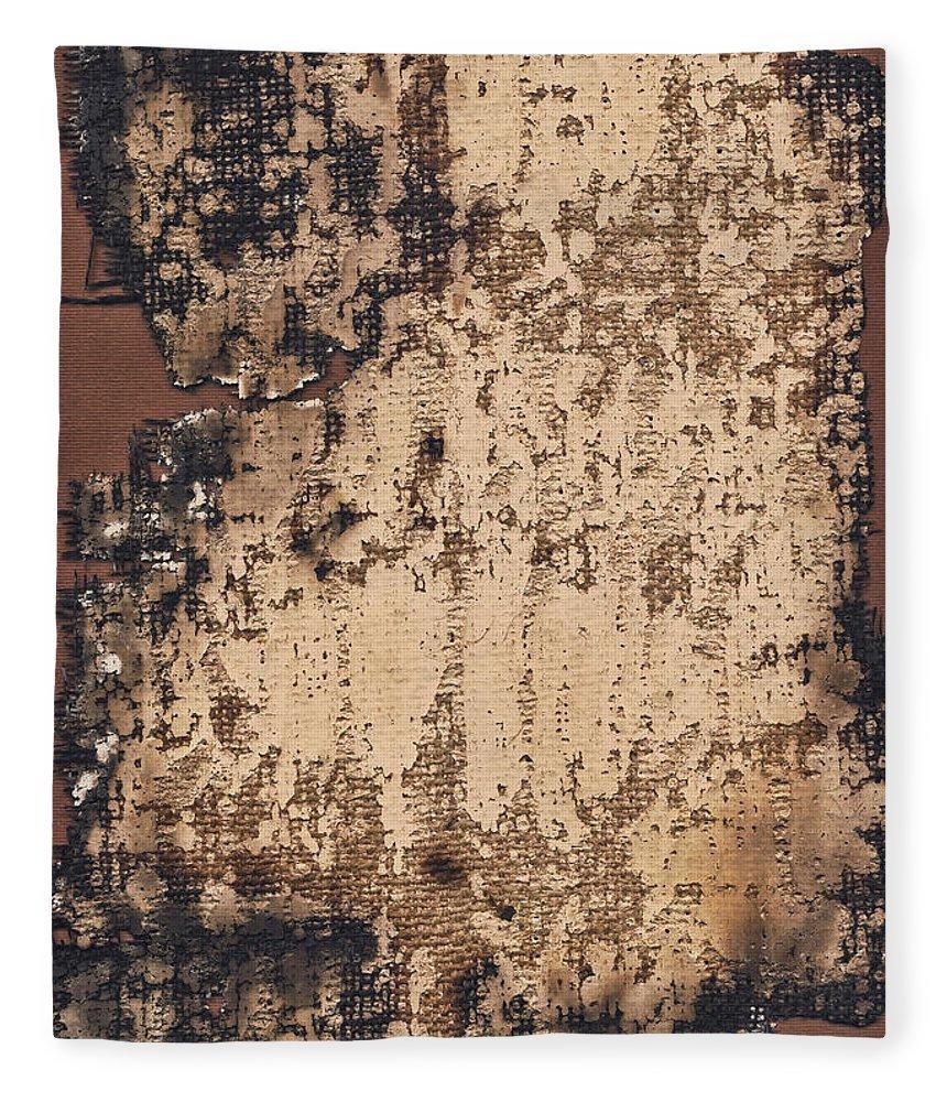 Burnt Fleece Blanket featuring the photograph High Resolution Burnt Primed Burlap by Miroslav Boskov