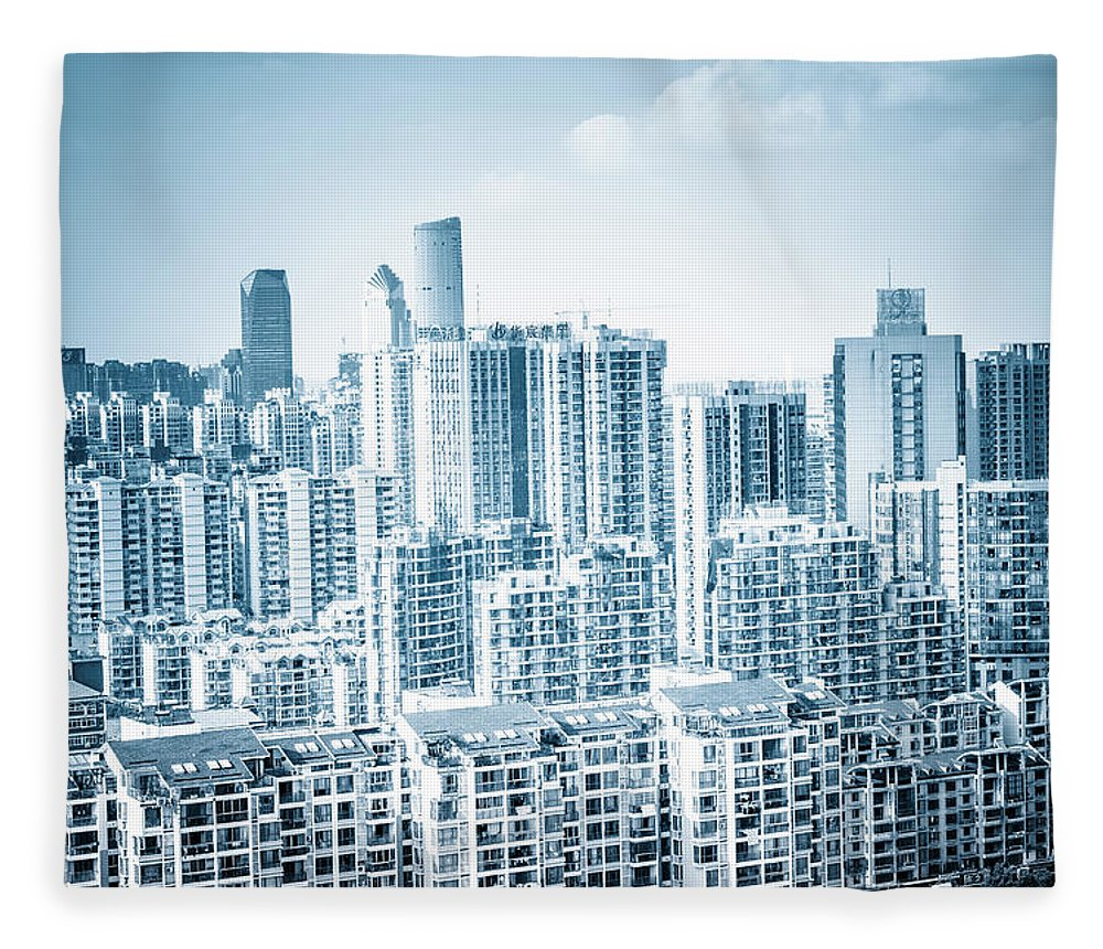 Residential District Fleece Blanket featuring the photograph High Rise Residential Area by Aaaaimages