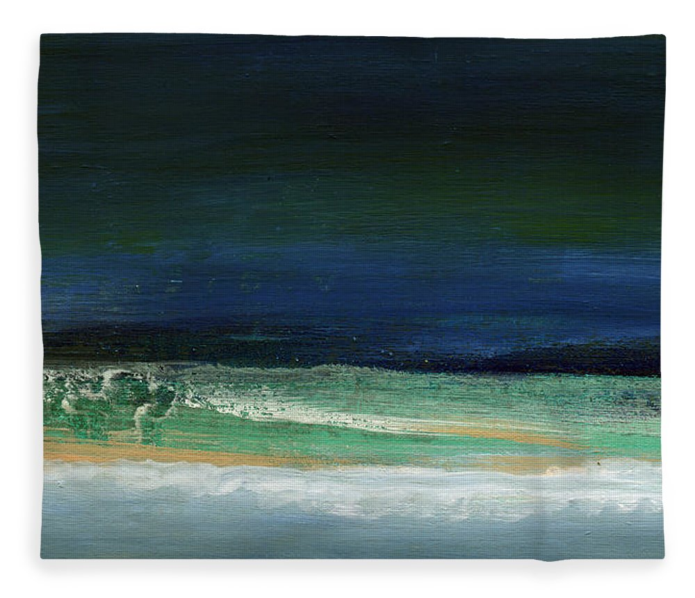 Ocean Fleece Blanket featuring the painting High Tide- Abstract Beachscape Painting by Linda Woods