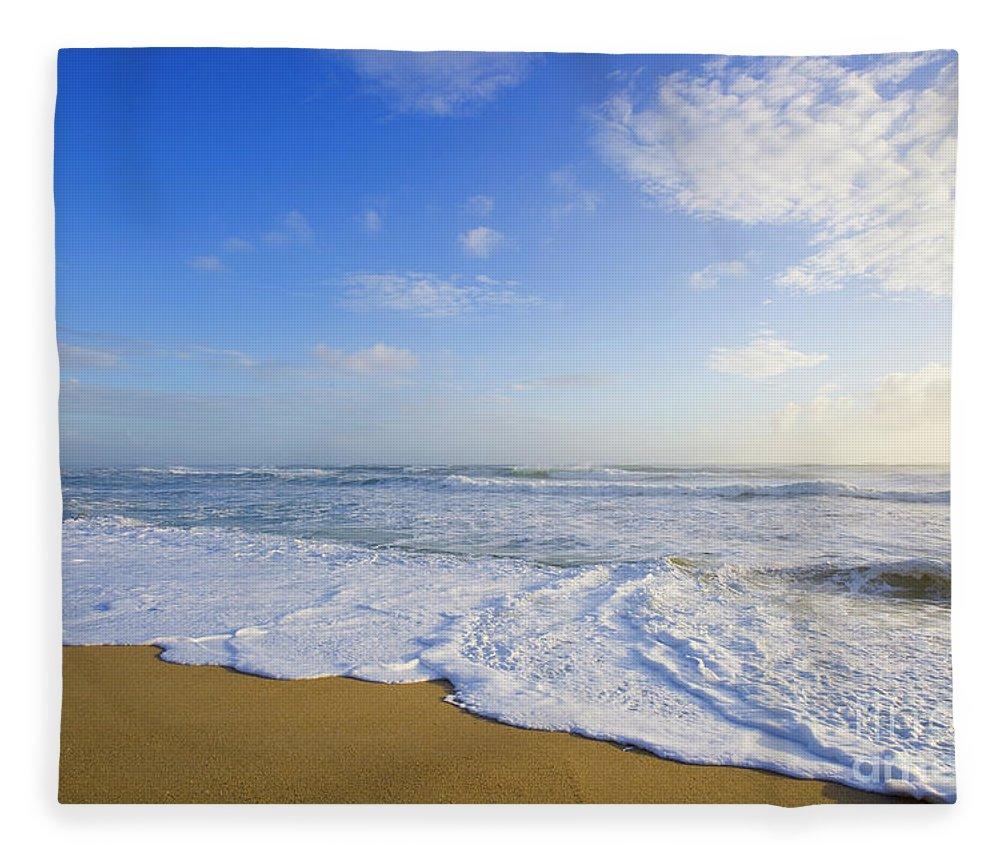 00345470 Fleece Blanket featuring the photograph High Tide Surf by Yva Momatiuk John Eastcott