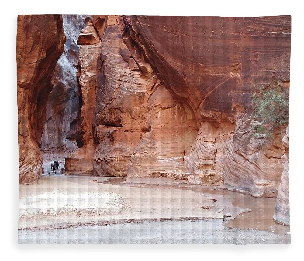 Tranquility Fleece Blanket featuring the photograph Hikers Entering Buckskin Gulch From by Photograph By Michael Schwab