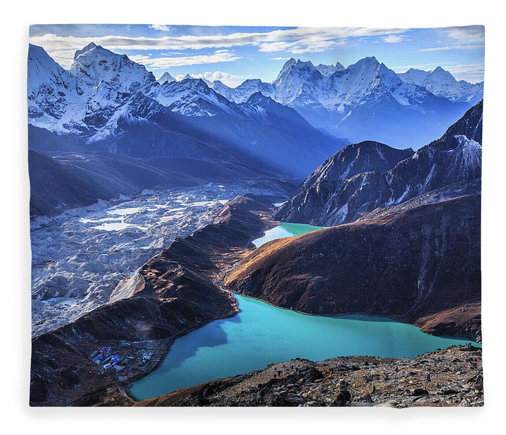 Tranquility Fleece Blanket featuring the photograph Himalaya Landscape, Gokyo Ri by Feng Wei Photography