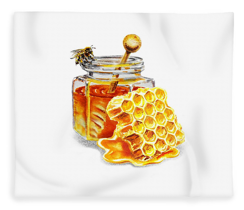 Honey Fleece Blanket featuring the painting Honey Jar And Honeycomb by Irina Sztukowski