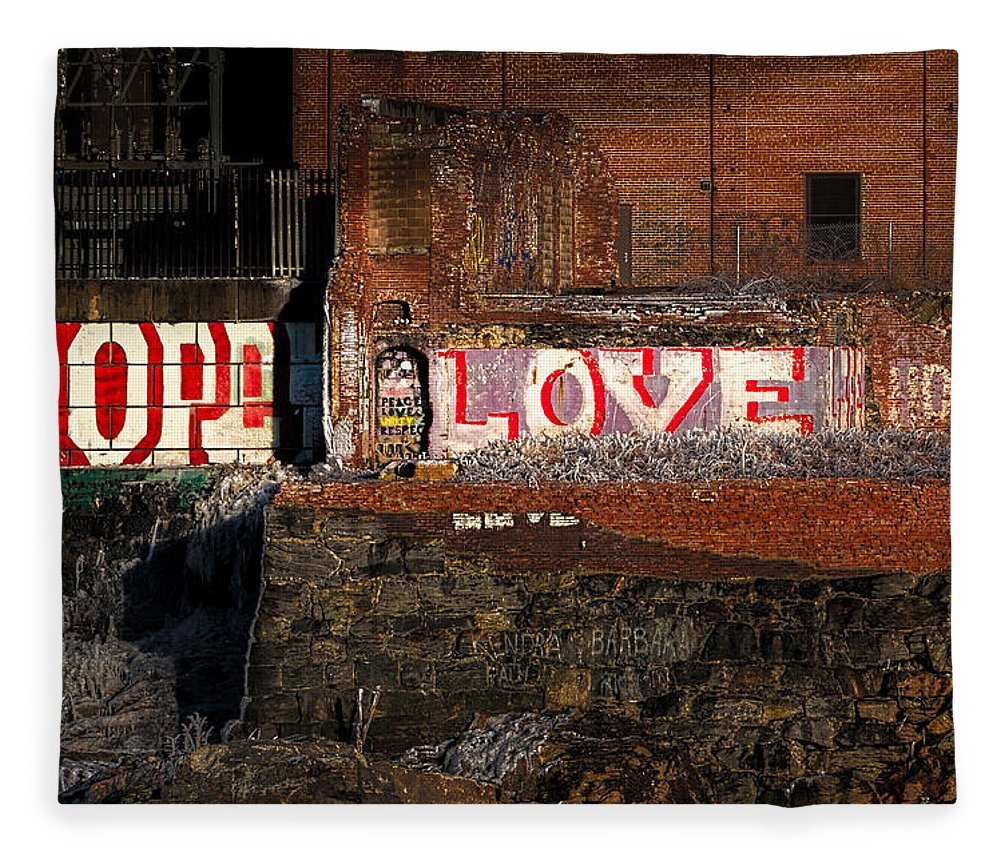 Urban Fleece Blanket featuring the photograph Hope Love Lovelife by Bob Orsillo