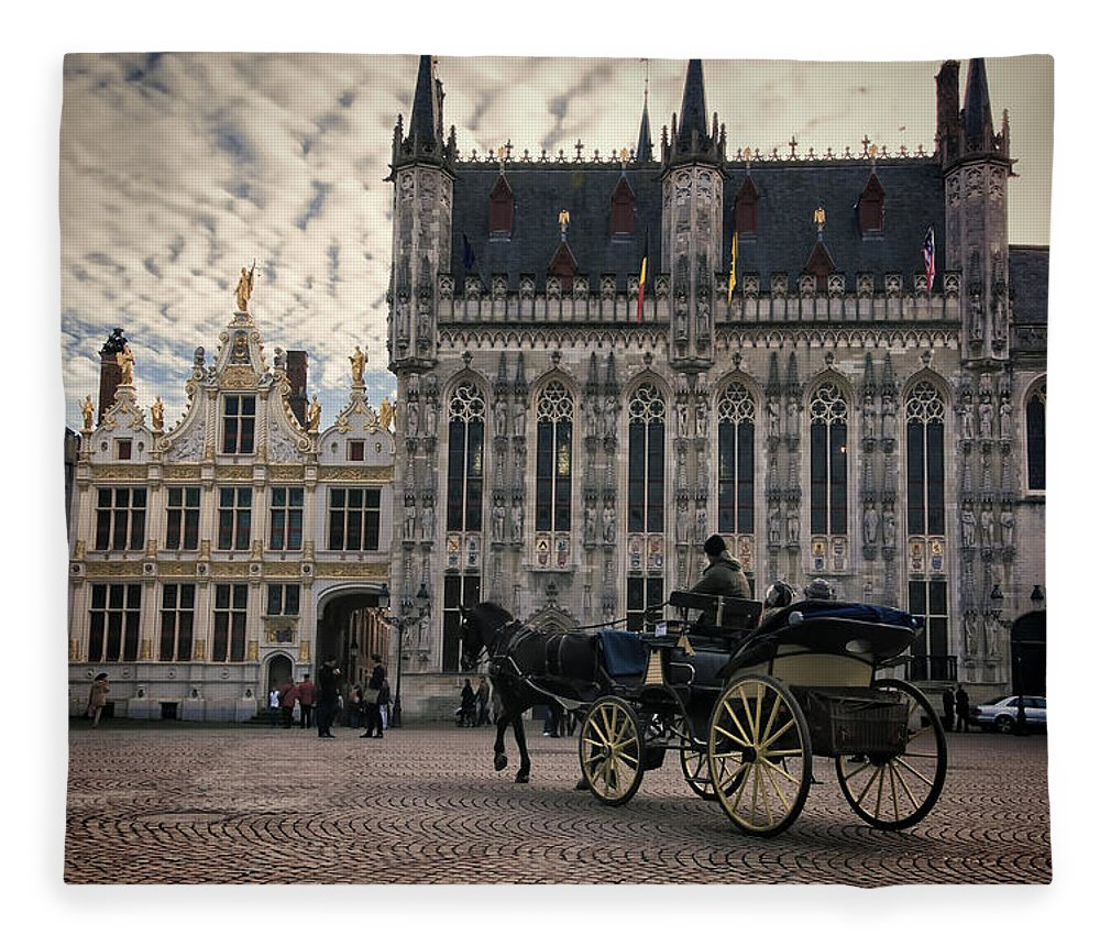 City Fleece Blanket featuring the photograph Horse And Carriage by Joan Carroll