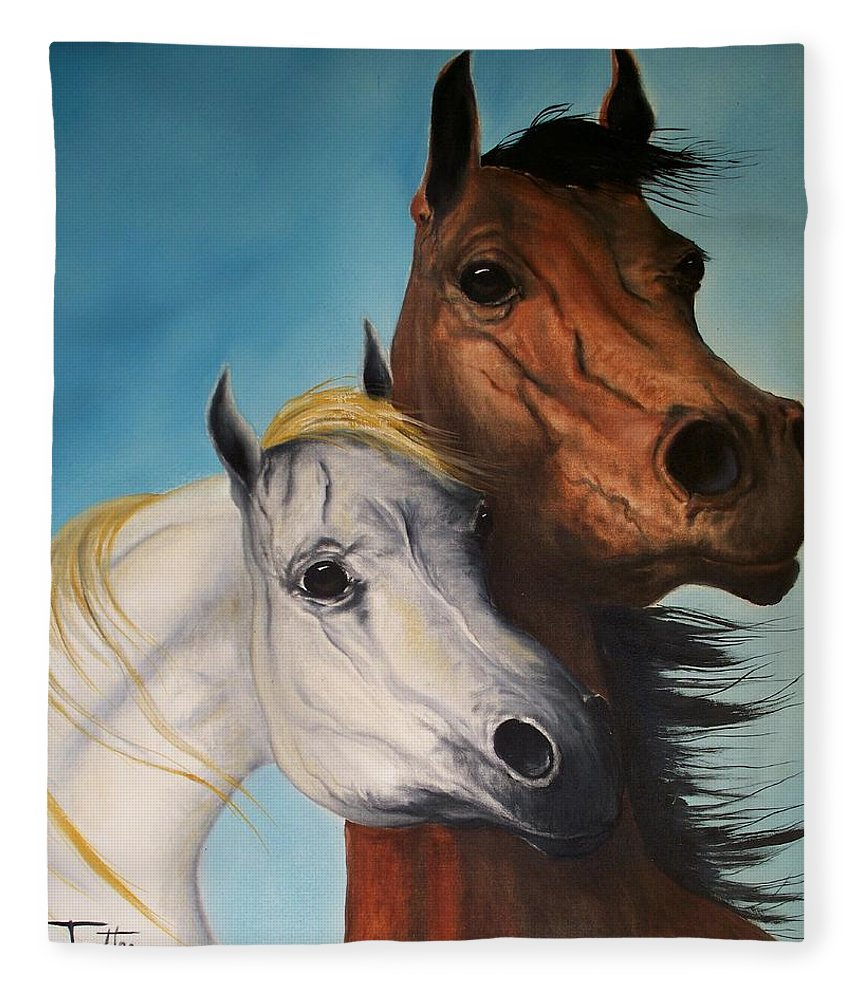 Horse Fleece Blanket featuring the painting Horse Lovers by Patrick Trotter