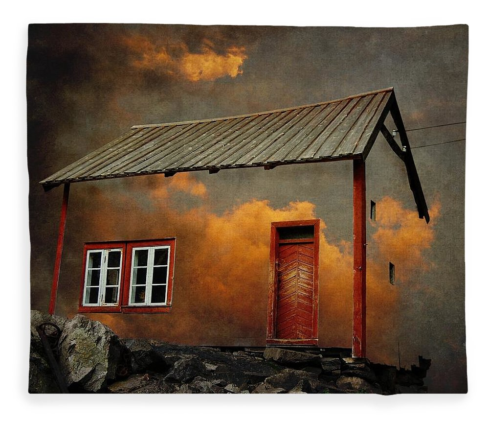 Surrealism Fleece Blanket featuring the photograph House in the clouds by Sonya Kanelstrand