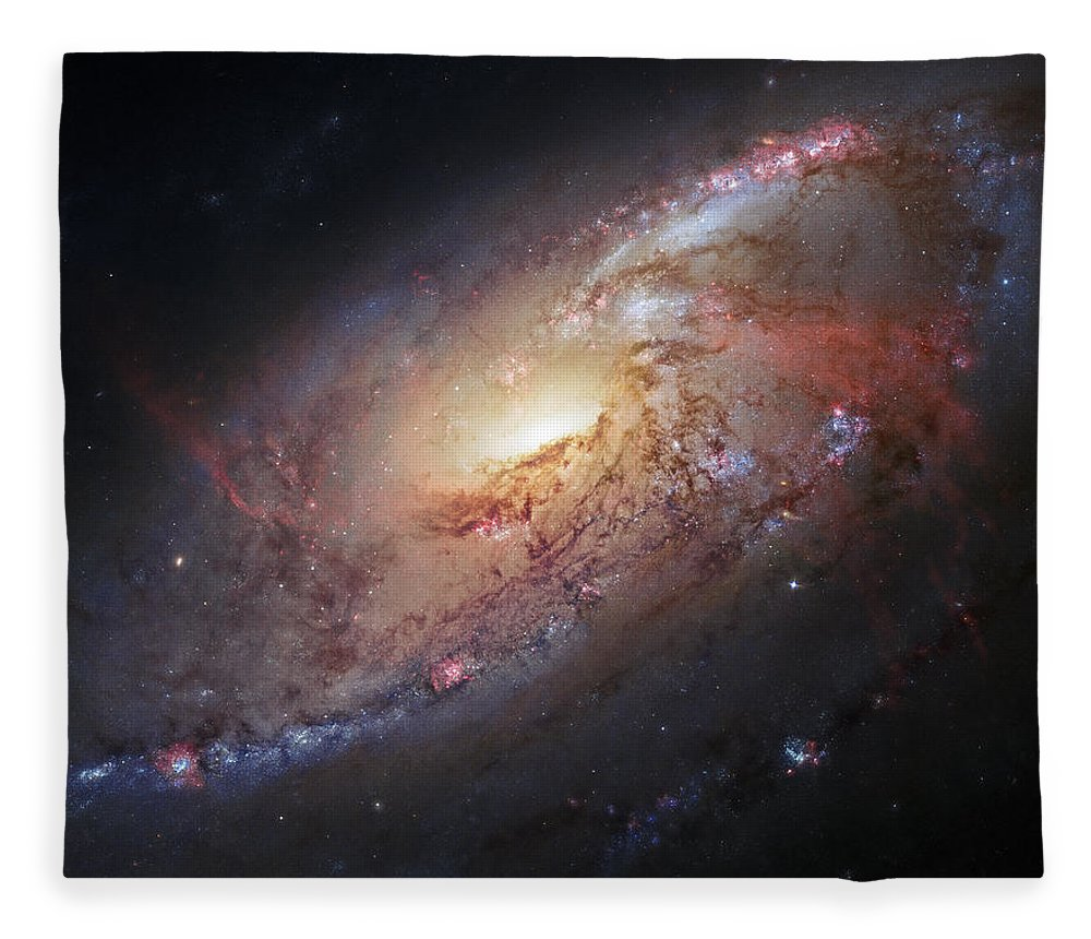 3scape Fleece Blanket featuring the photograph Hubble View Of M 106 by Adam Romanowicz