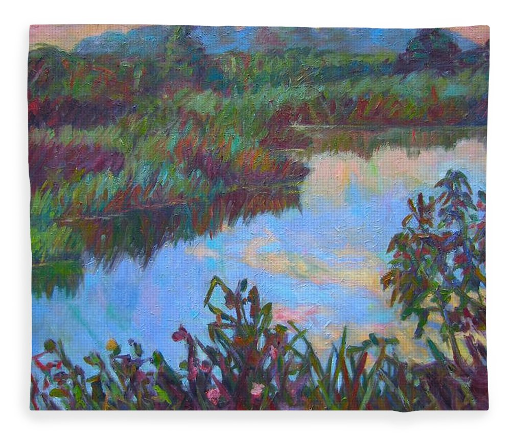 Landscape Fleece Blanket featuring the painting Huckleberry Line Trail Rain Pond by Kendall Kessler