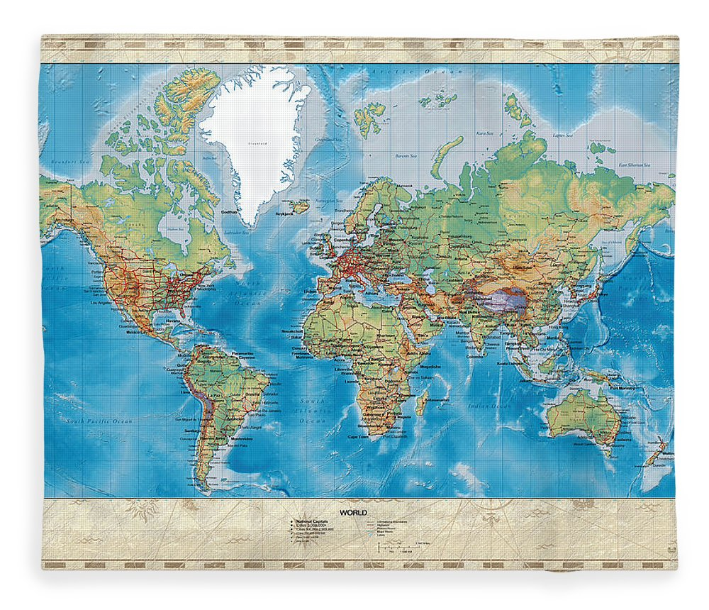 Huge hi res mercator projection physical and political relief world c7 maps cartography of past and present fleece blanket featuring the digital art huge hi gumiabroncs Images
