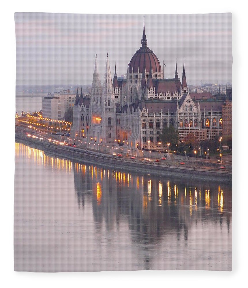 Outdoors Fleece Blanket featuring the photograph Hungarian Parliament At Sunrise by Ilona Nagy