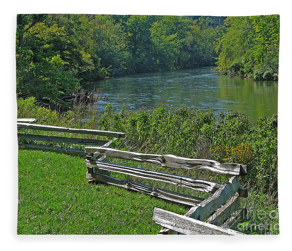 River Fleece Blanket featuring the photograph Huron River Bend by Ann Horn