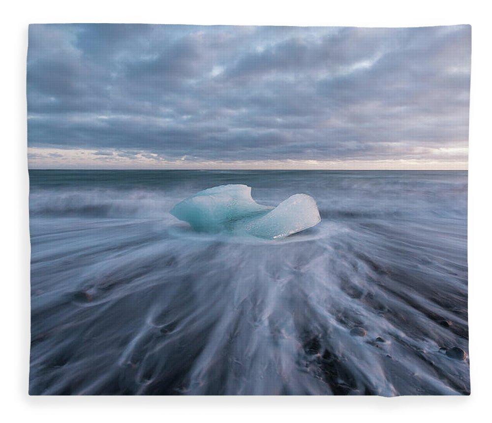 Iceberg Fleece Blanket featuring the photograph Ice Block, Jokulsarlon, Iceland by David Clapp