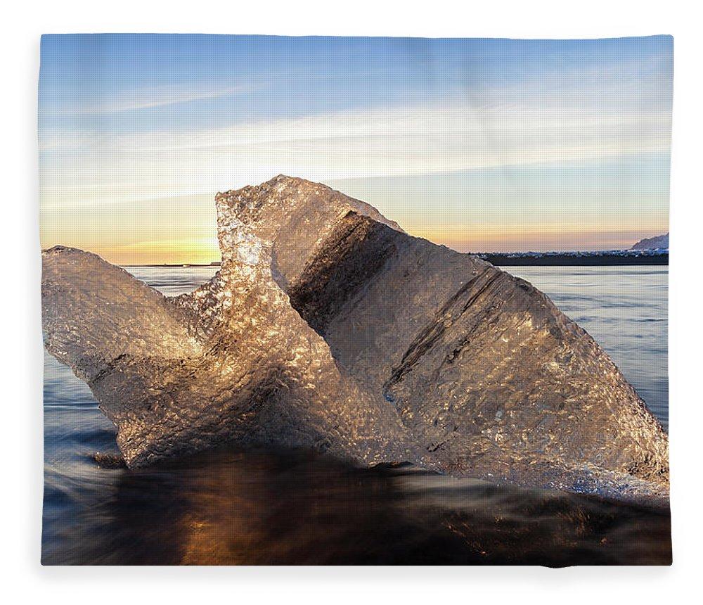 Scenics Fleece Blanket featuring the photograph Iceberg In Sea By Jokulsarlon Glacier by Peter Adams