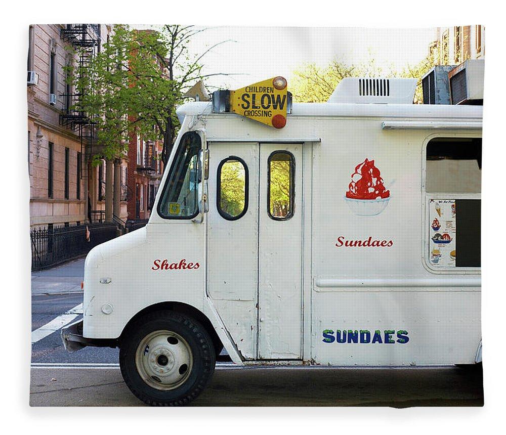 Retail Fleece Blanket featuring the photograph Icecream Truck On City Street by Jason Todd