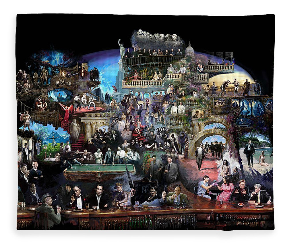 Icones Of History And Entertainment Fleece Blanket featuring the mixed media Icons Of History And Entertainment by Ylli Haruni