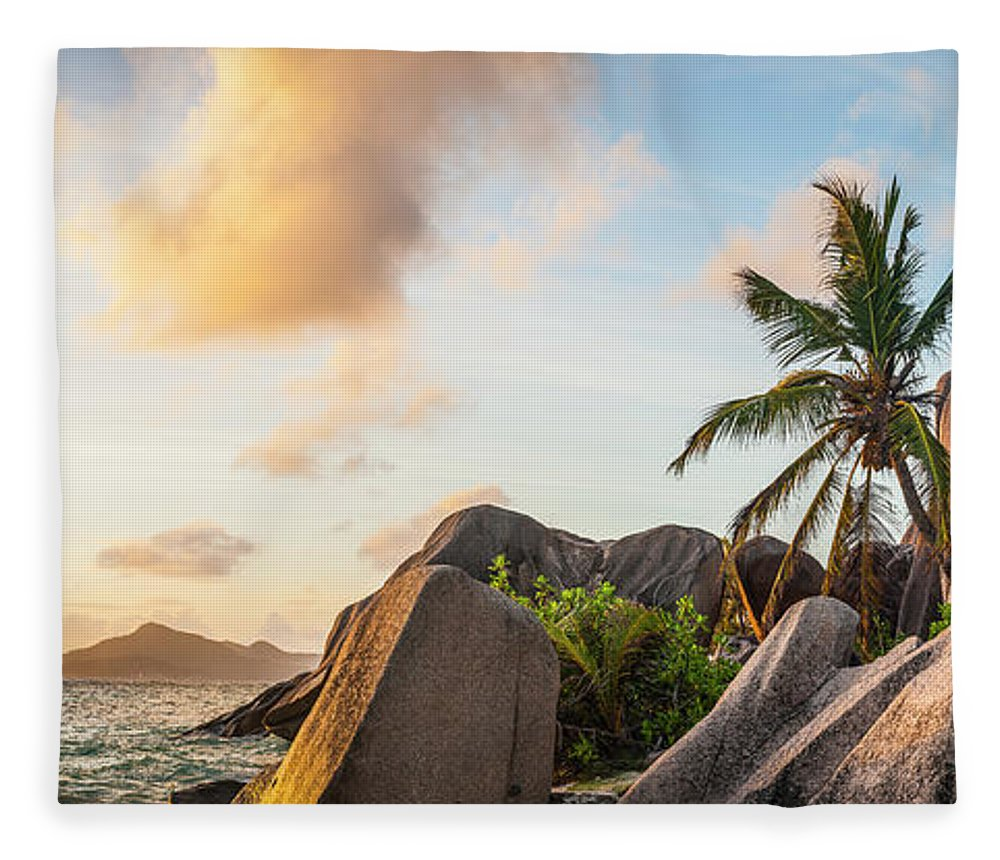 Tropical Rainforest Fleece Blanket featuring the photograph Idyllic Tropical Island Sunset Over by Fotovoyager