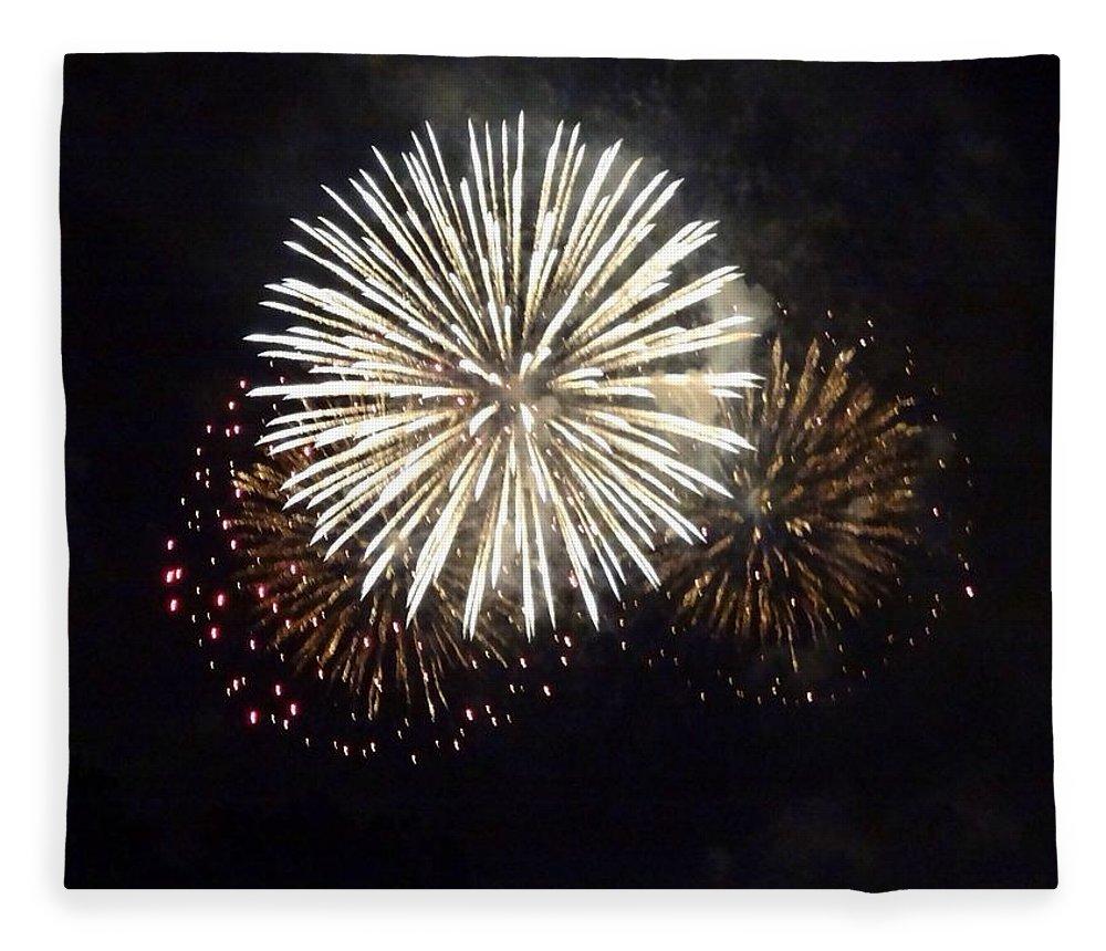 Event Fleece Blanket featuring the photograph Illuminated Firework Display Against by Daniel Schild / Eyeem