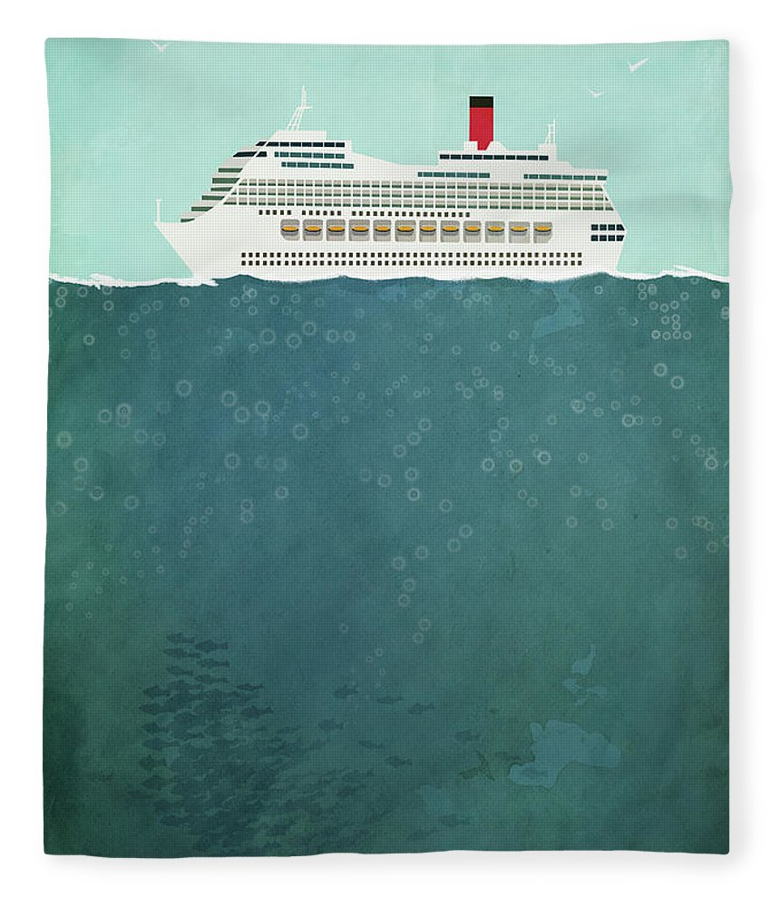 Concepts & Topics Fleece Blanket featuring the digital art Illustration Of Cruise Ship Sailing On by Malte Mueller