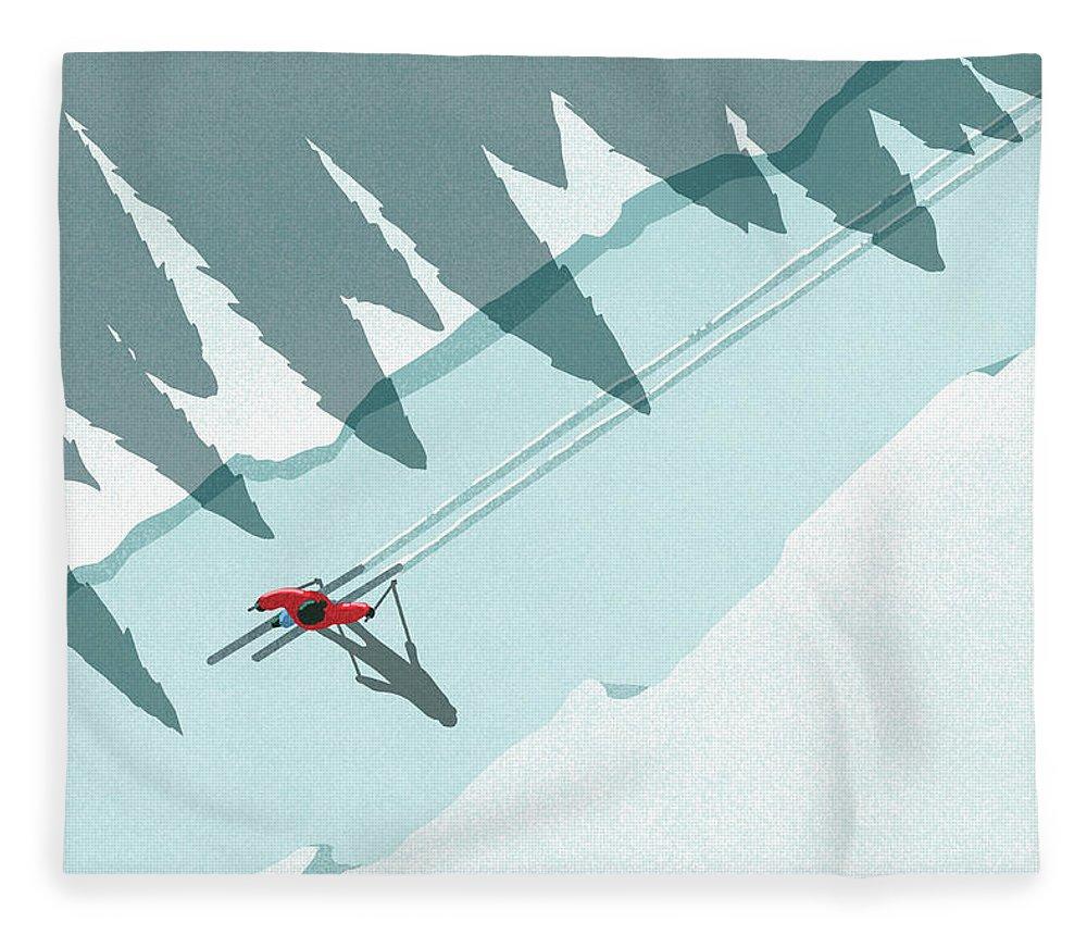 Ski Pole Fleece Blanket featuring the digital art Illustration Of Man Skiing During by Malte Mueller