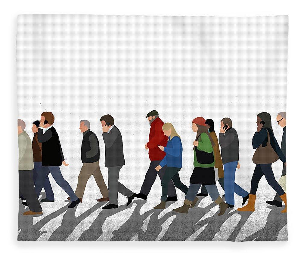 Shadow Fleece Blanket featuring the digital art Illustration Of People Walking On by Malte Mueller